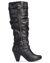 Rampage | Black Eliven Slouchy Leather Boots | Lyst