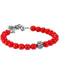 King Baby Studio | 8mm Red Coral Bracelet With Silver Feather Bead | Lyst