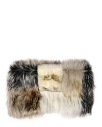 Urbancode | White Patchwork Faux Fur Stole | Lyst
