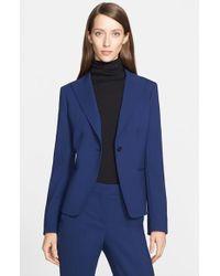 Max Mara | Blue 'Marus' One-Button Stretch Wool Jacket | Lyst