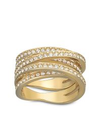 Swarovski | Metallic Spiral Crystal And Goldtone Ring Size 8 | Lyst