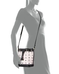 MCM - Pink Heritage Drawstring Mini Bucket Bag - Lyst