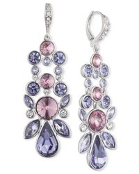 Givenchy - Silver-tone Purple Crystal Drop Earrings - Lyst