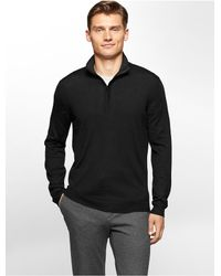 Calvin Klein | Black White Label Merino Wool 1/4 Zip Sweater for Men | Lyst