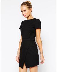 ASOS | Black Dress With Bonded Asymmetric Wrap | Lyst