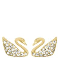 Swarovski | Metallic Swan Goldtone And Crystal Stud Earrings | Lyst