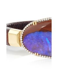 Pamela Huizenga | Multicolor 18K Gold And Dark Brown Leather Bracelet With Australian Boulder Opal And Diamond Frame | Lyst
