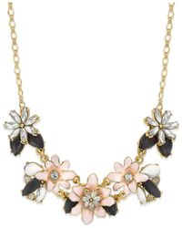 kate spade new york - Pink 12k Gold-plated Glossy Petals Mini Necklace - Lyst
