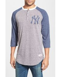 Mitchell & Ness | Blue 'new York Yankees - Hustle Play' Tailored Fit Henley for Men | Lyst