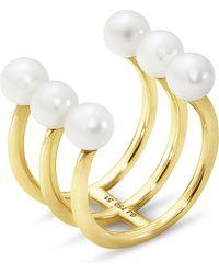 Georg Jensen | Metallic Neva 18ct Yellow-gold Triple Pearl Ring | Lyst