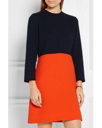 Victoria, Victoria Beckham - Blue Two-tone Wool-crepe Mini Dress - Lyst