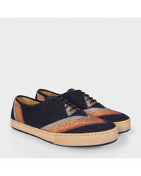 Paul Smith - Blue Navy Rainbow Bouclé And Leather 'Rick' Trainers for Men - Lyst