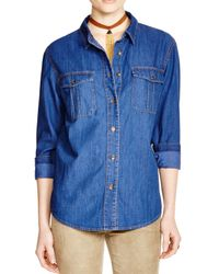 Free People - Blue Xo Denim Button Down Shirt - Lyst