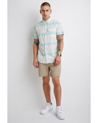 Forever 21 | Natural Striped Button-tab Shirt for Men | Lyst