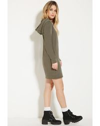 Forever 21 - Green Hooded Cotton Dress - Lyst