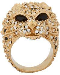 Saint Laurent - Metallic Lion Head Ring - Lyst