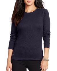Lauren by Ralph Lauren | Blue Ribbed Stretch-cotton Tee | Lyst
