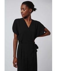 TOPSHOP - Black Wrap Dress - Lyst