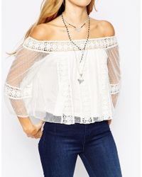 ASOS - White Top With Off Shoulder And Pretty Spot Lace - Lyst