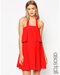 ASOS | Orange Tall Bandeau Crop Top Skater Dress With Wide Straps | Lyst