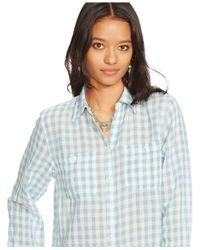 Denim & Supply Ralph Lauren | Blue Checked Utility Shirt | Lyst