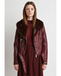 Forever 21 | Red Faux Fur Moto Jacket | Lyst