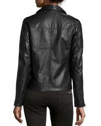 Neiman Marcus - Black Faux-Leather Quilted-Inset Moto Jacket - Lyst