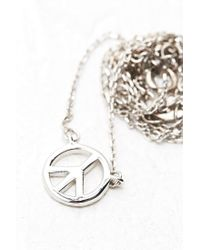 Urban Outfitters | Metallic Peace Symbol Pendant Necklace in Sterling Silver | Lyst