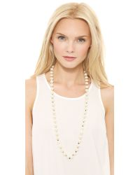 Tory Burch Metallic Tilde Long Necklace Ivory Pearlshiny Brass