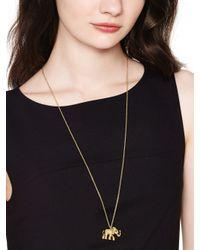 kate spade new york | Metallic Golden Elephant Pendant | Lyst