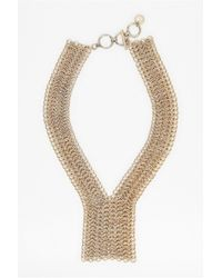 French Connection | Metallic Chainmail Y Style Necklace | Lyst