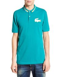 Lacoste | Blue Lacoste L!ve Tipped Pique Polo for Men | Lyst