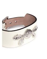 Alexander McQueen - White Acorn Leather Bracelet - Lyst
