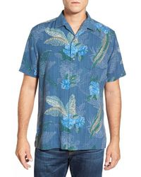Tommy Bahama | Blue 'maui Mosaic' Island Modern Fit Floral Print Silk Camp Shirt for Men | Lyst