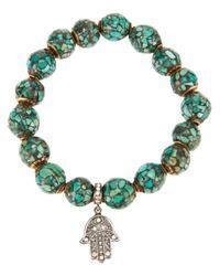 Loree Rodkin - Blue Mosaic Beaded Hand Bracelet - Lyst