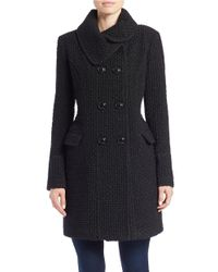 Gallery | Black Double-breasted Button-down Coat | Lyst
