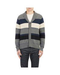 Barneys New York - Gray Stripe Shawl-Collar Cardigan for Men - Lyst