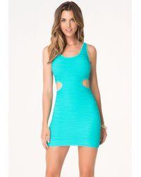 Bebe - Blue Cutout Bodycon Tank Dress - Lyst