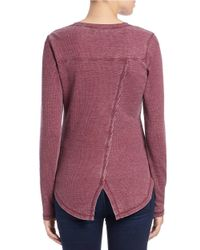 William Rast | Purple Roundneck Thermal Knit Top | Lyst