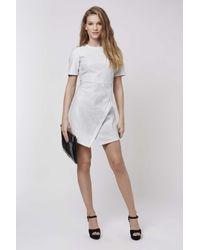 TOPSHOP - White Tinsel Wrap A-line Dress - Lyst