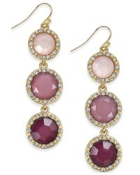 INC International Concepts | Purple Gold-tone Mauve Triple Stone Linear Earrings | Lyst
