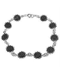 Aeravida - Black Pretty Sunflower/flower Link .925 Silver Bracelet - Lyst