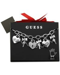 Guess - Metallic Silver-tone Linked Crystal Charm Gifting Bracelet - Lyst