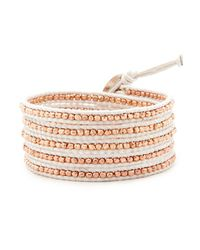 Chan Luu | Metallic Rose Gold Wrap Bracelet On White Leather | Lyst