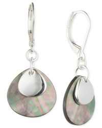 Anne Klein | Metallic Silver-tone Mother-of-pearl Drop Earrings | Lyst