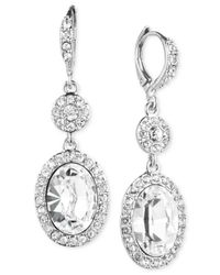 Givenchy | Metallic Silver-tone Crystal Double Drop Earrings | Lyst