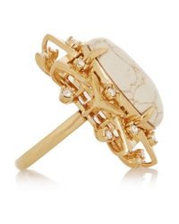 Lele Sadoughi - Metallic Sunshine Gold-Plated, Marble And Howlite Ring - Lyst