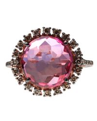 Suzanne Kalan - Pink Topaz And Champagne Diamond Round Ring - Lyst