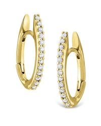 KC Designs | Metallic 14k Gold And Diamond Oval Shape Hoop Earrings | Lyst