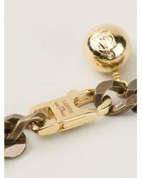 Lanvin - Black Crystal Emblem Necklace - Lyst